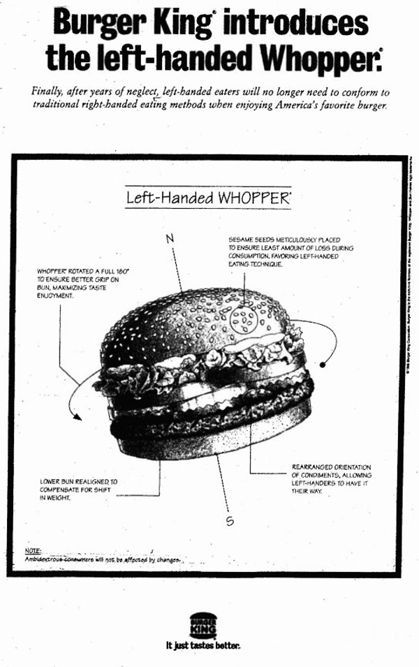 Left-handed wopper advertisement in 1998