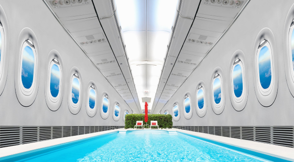 Swimming Pool in airplane